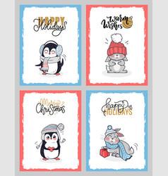 winter animals in warm cloth happy holidays cards vector image