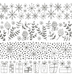 Winter hand drawn seamless borders vector image