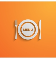 With a plate and cutlery 3d paper design style vector