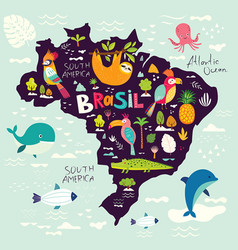 With map of brazil vector