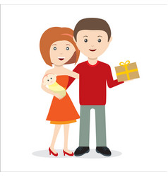 Young couple with child and gift happy vector