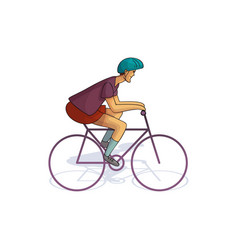 young man riding bicycle cycle sport male in vector image