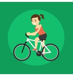 Young smiling woman riding bicycle vector