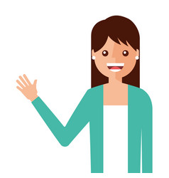 young woman waving happy avatar character vector image