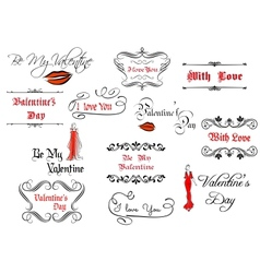 Calligraphic elements and headlines for Valentines vector image vector image