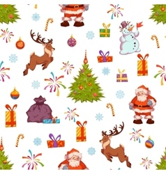 Christmas seamless pattern with Santa pine deer vector image vector image