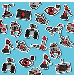 Colored robotic pattern vector image