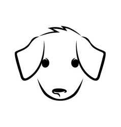 Cute puppy face on white vector