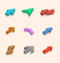 flat arrows isometric vector image vector image