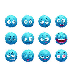 funny blue round characters set vector image vector image