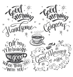 Good morning brush calligraphy set vector image vector image