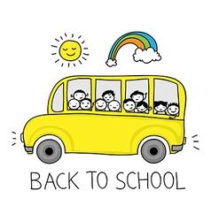 happy schoolbus doodle vector image vector image