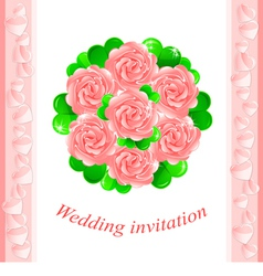 Pink wedding invitation vector image vector image