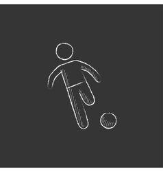 Soccer player with ball Drawn in chalk icon vector image vector image