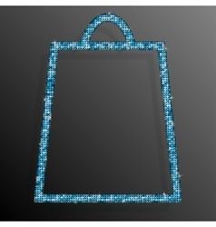 Blue Sequins Shopping Bag Glitter Sale offer vector image