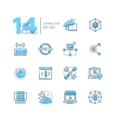 connection - coloured modern single line icons set vector image vector image