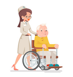cute doctor attendant nurse elderly caring vector image