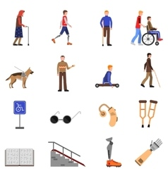 Disabled Handicapped People Flat Icons Set vector image