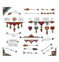Hand drawn colorful boho tribal elements vector image vector image