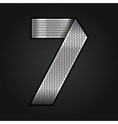 Number metal chrome ribbon - 7 - seven vector image