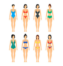 beautiful girls in color bathing suits set vector image vector image