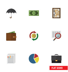 Flat icon gain set of portfolio scan counter and vector