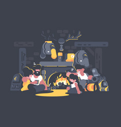 friends sitting by fireplace vector image vector image