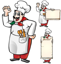 italian chef set isolated vector image vector image