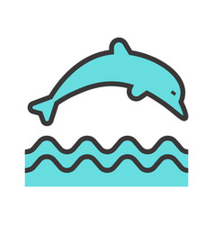 jumping dolphin icon vector image vector image
