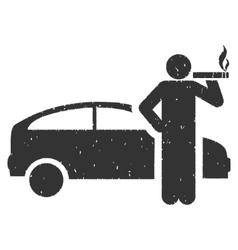 Smoking Taxi Driver Icon Rubber Stamp vector image vector image