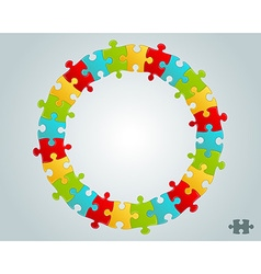 colorful puzzle pieces round frame vector image vector image