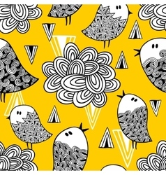 Creative seamless pattern with doodle bird and vector image