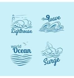 Ocean wave logo set vector image