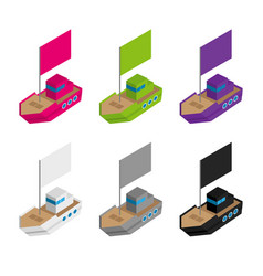set of colored and gray isometric ships with flags vector image
