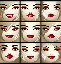 Set of portraits of sexy women in different vector image vector image