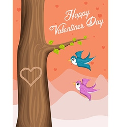 Valentine Day background with flying love birds vector image