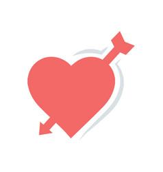 valentines heart arrow red icon vector image vector image