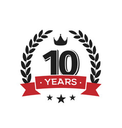10 th birthday vintage logo template tenth years vector image