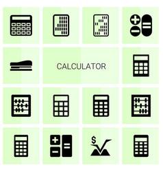 14 calculator icons vector