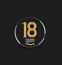 18 years golden anniversary logotype golden vector