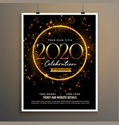 2020 new year golden sparkle flyer poster vector image