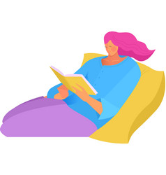 A girl reading a book vector