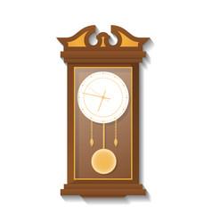 Antique wooden pendulum clock icon vector