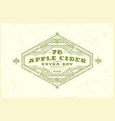 apple cider label with vintage frame vector image