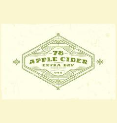 Apple cider label with vintage frame vector