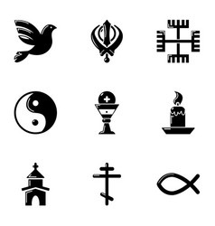 asian type icons set simple style vector image