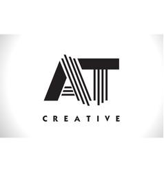 at logo letter with black lines design line letter vector image