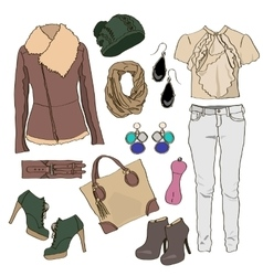 Autumn clothes collection for young women and girl vector image