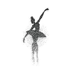 Ballet dancer girl particle splash silhouette vector