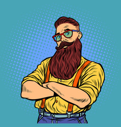 bearded hipster with glasses vector image
